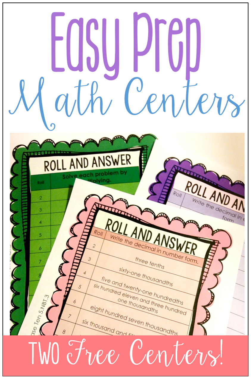 Easy Prep Math Centers: Roll and Answer Games {Freebies} - Teaching ...