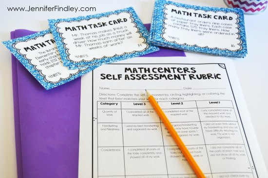 Grab this free self-assessment to help your students monitor their learning and work at math centers.