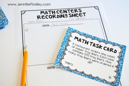 Download a free recording sheet that helps students organize multiple math center work and helps you grade that work.