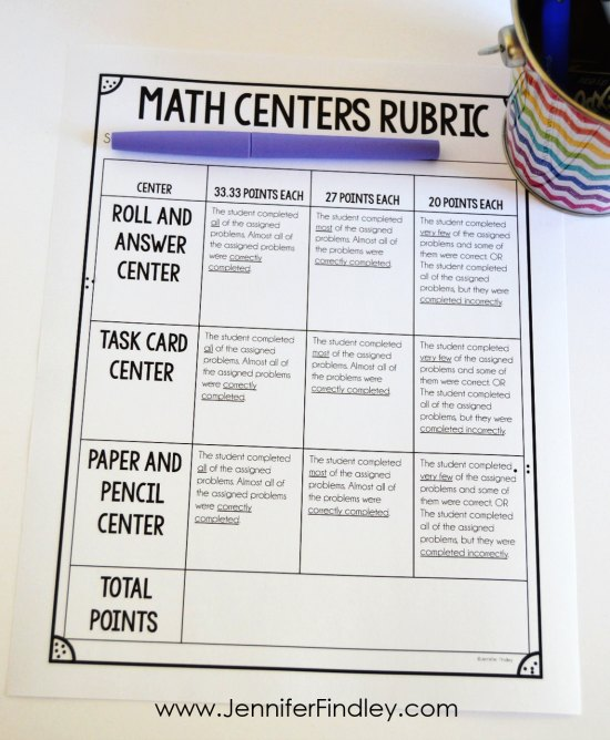 Rubrics are a great way to assess math centers. Grab some free rubric templates on this post.