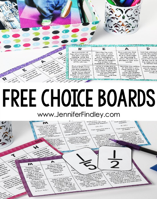 FREE choice boards for grades 3-5! Students are more engaged and motivated when given choice. This post breaks down how you can use choice boards to offer choice and increase student mastery. FREE choice boards included.