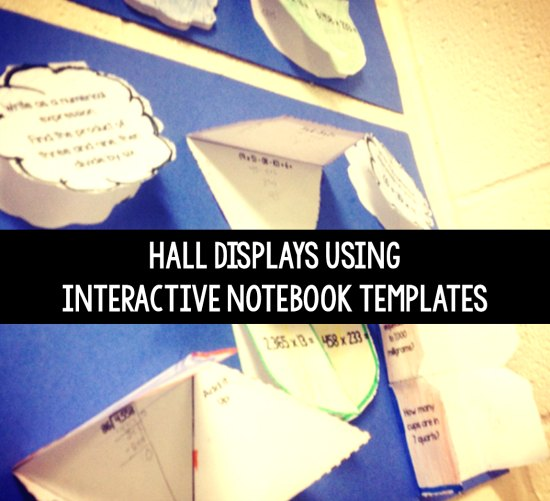 Interactive hall displays for students to show what they know using interactive notebook templates or foldable templates.