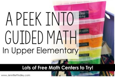 Take a peek into what guided math centers look like in an upper elementary classroom. Lots of FREE guided math centers included.