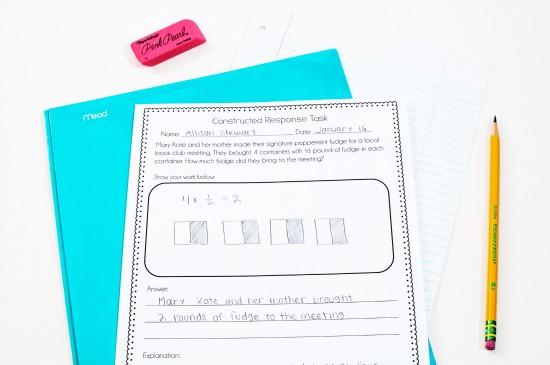 Constructed response math tasks
