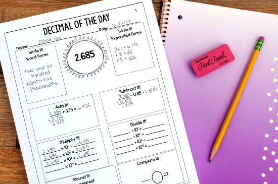 """Of the Day"" math printables work perfectly in guided math centers. Click through to read more and get more ideas for guided math centers."