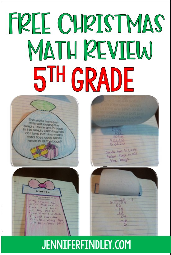 FREE Christmas math activity for 5th graders! This simple to prep Christmas math review uses interactive math notebook templates to review key 5th grade math skills. Use these in student notebooks or to make an interactive hall display!