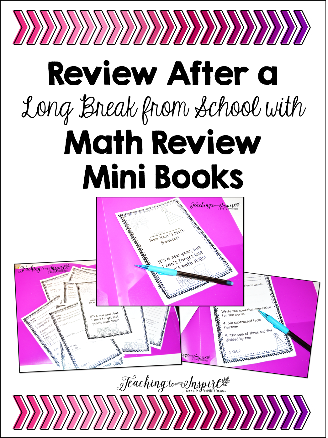Review after a long break from school with math review books.