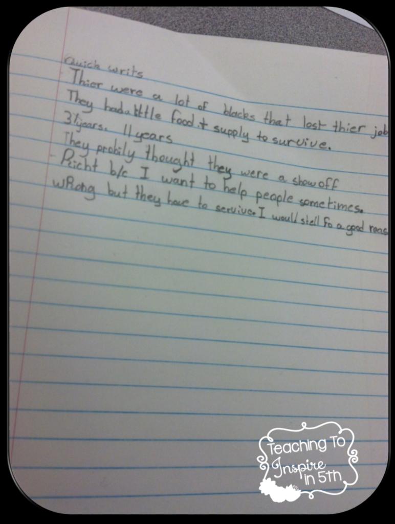quick write examples