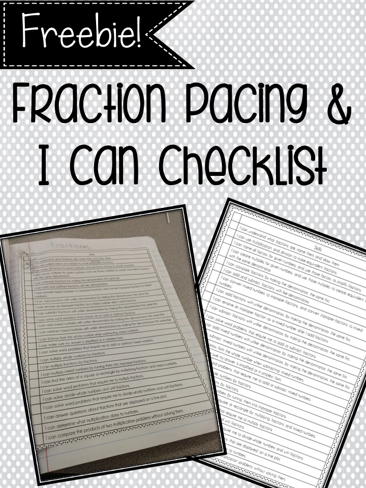 Fraction Pacing and I Can Checklist Freebie