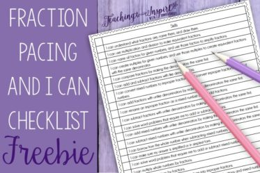 "Grab a detailed fraction pacing guide and matching student ""I Can"" checklist on this post."