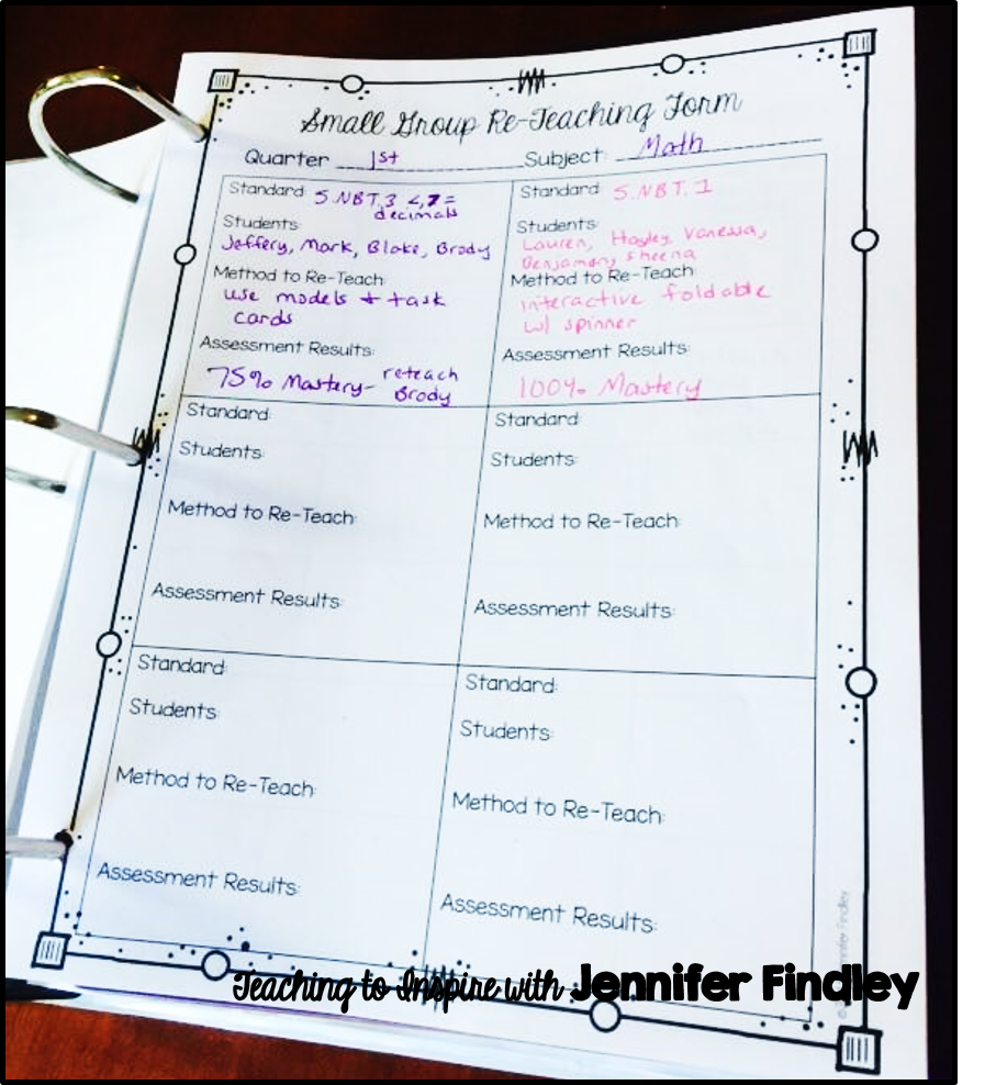 Data Tracking Forms {Free} - Teaching with Jennifer Findley