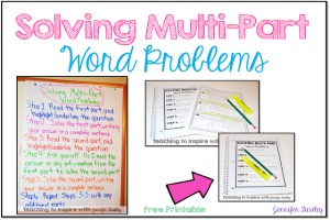 Solving Multi-Part Word Problems {Freebie Printable Chart}