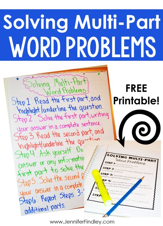 Multi part word problems can be just as tricky (if not trickier) than multi step word problems. Check out this post for tips and a free printable to help your students tackle rigorous word problems and constructed response math tasks that have multiple parts.