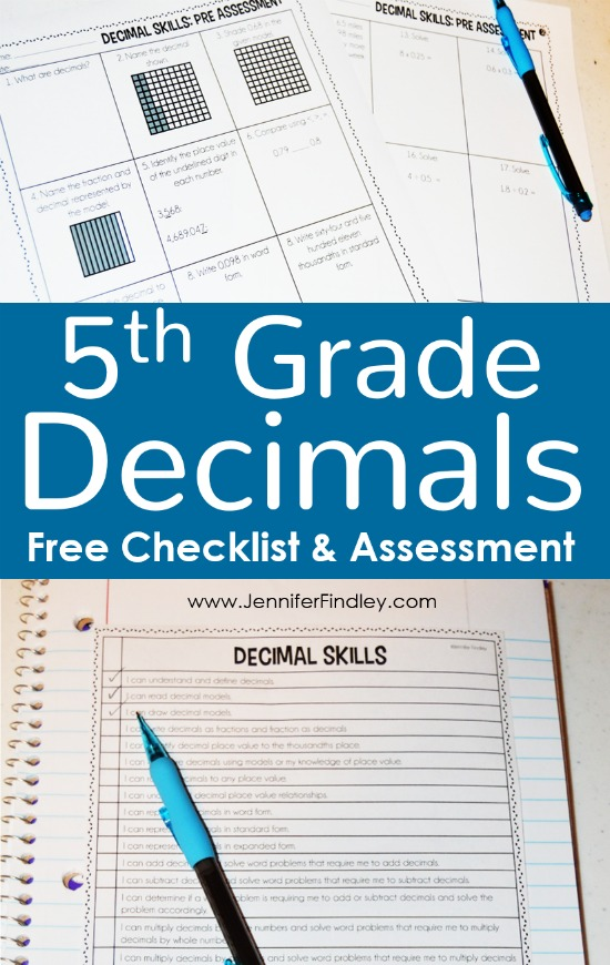 Resources for teaching decimals in 5th grade, including a free 5th grade decimals skills checkilst and a free decimals assessment.