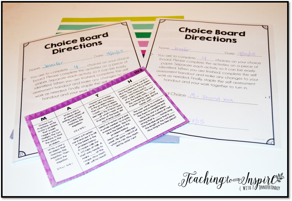 Choice Board Scoring Resources {Freebies}