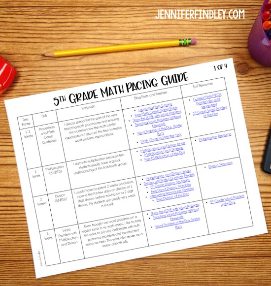 FREE 5th grade math pacing guide! This 5th grade math pacing guide includes the rationale and reasoning behind the pacing as well as links to freebies, blog posts, and resources.