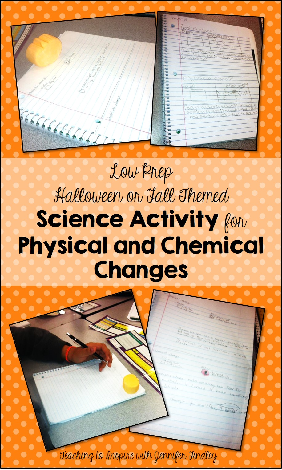 Low Prep Physical and Chemical Changes Activity with a Fall or Halloween Theme