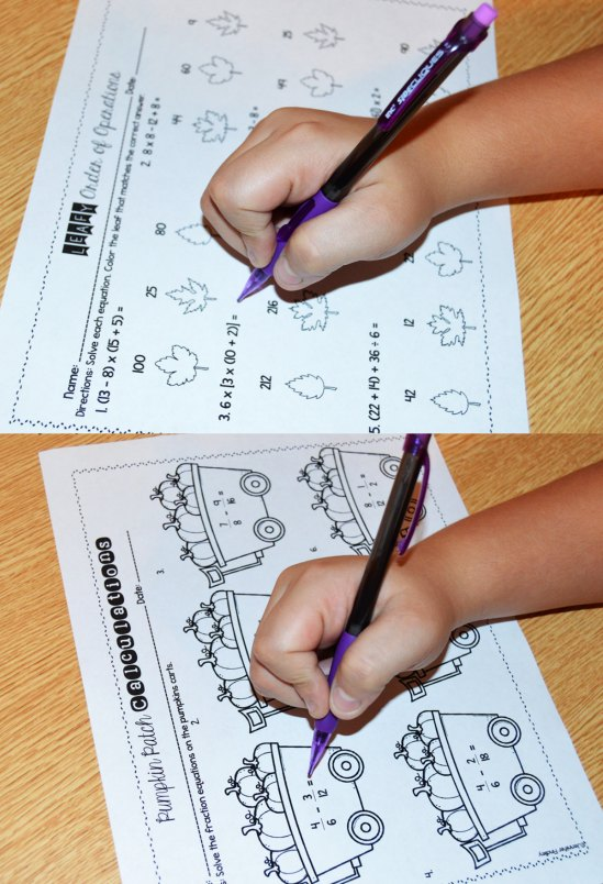 Fall-themed math worksheets and printables for grades 4-5