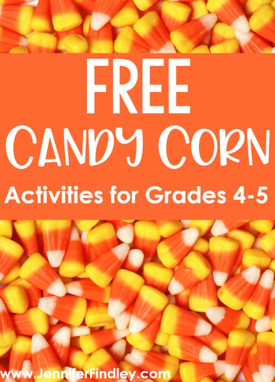 FREE candy corn activities for grades 4-5! Check out this post for free activities and ideas for using candy corn for upper elementary classrooms.