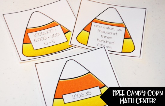 Free Candy Corn Math Activity for Whole Number Review in Grades 4-5!