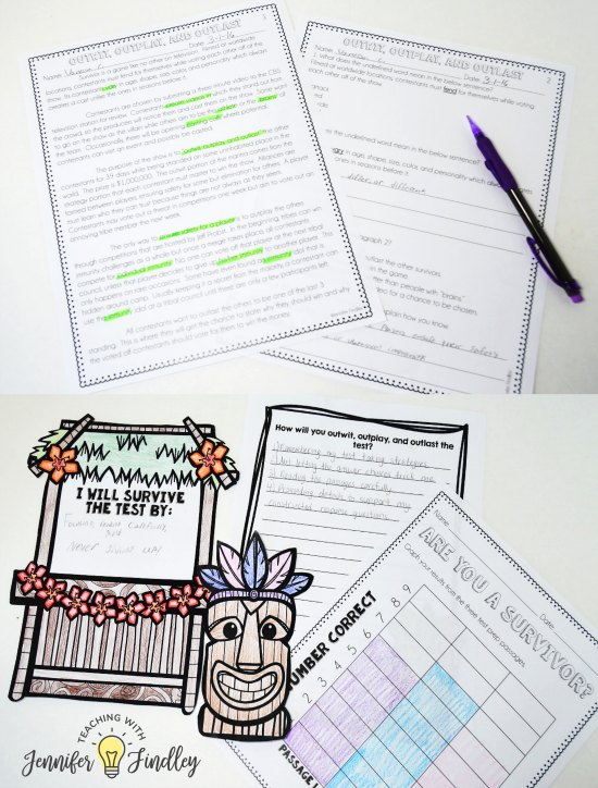 Engage your students with Survivor Themed Game Show Reading Test Prep! Paper and pencil test prep can be engaging, too! Read 6 ways to making test prep more engaging even with paper and pencil work!