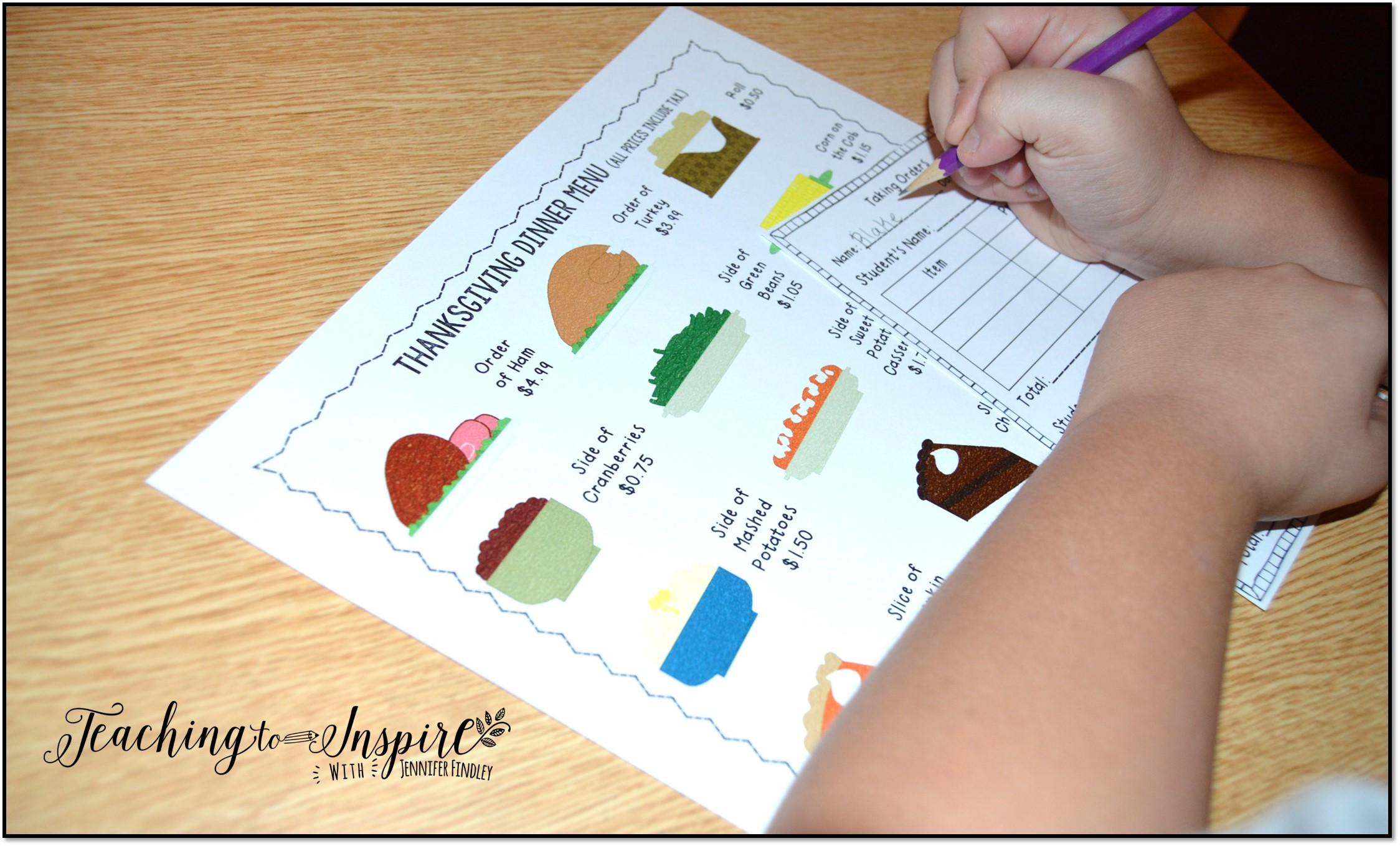 Thanksgiving Activities for Upper Elementary Teaching to Inspire – Menu Math Printable Worksheets