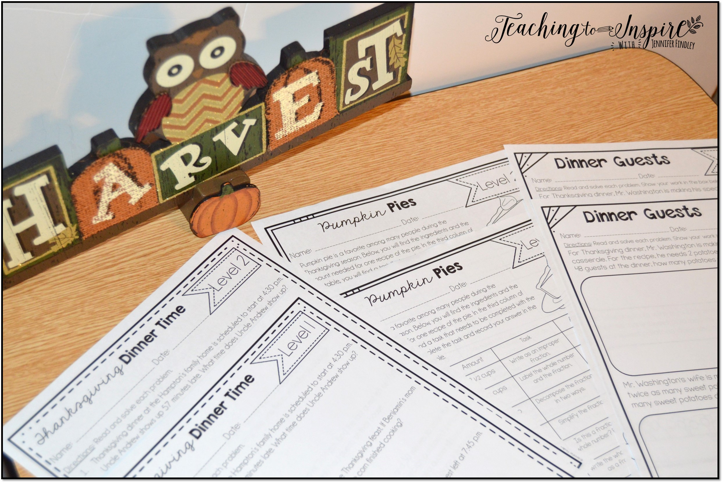 Thanksgiving Leveled Math Worksheets - Teaching to Inspire with ...