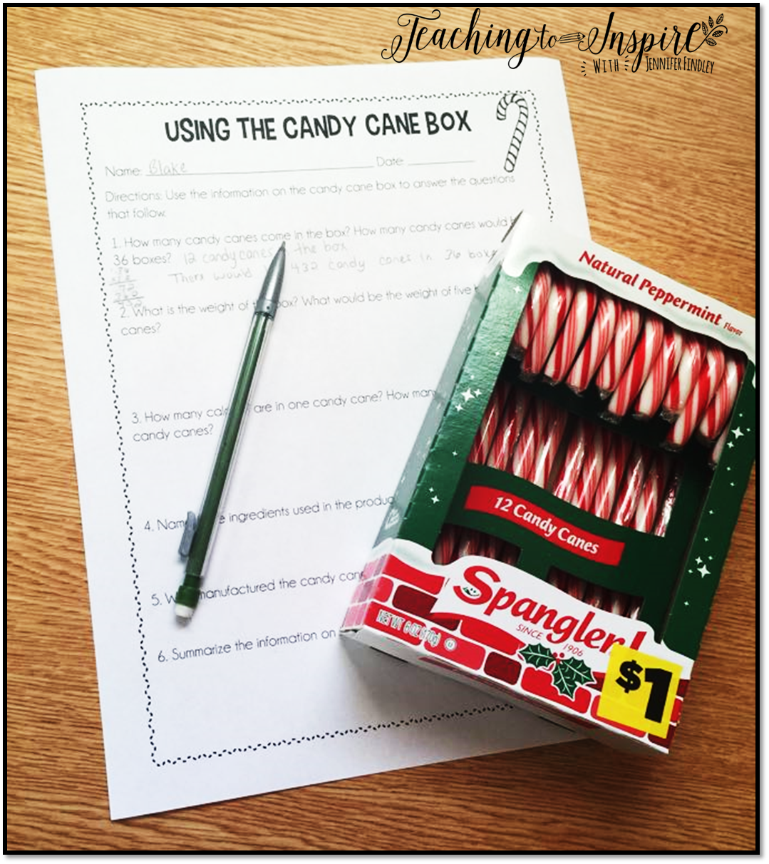Free Candy Cane Activities for upper elementary that are perfect for the month of December. Download for free!