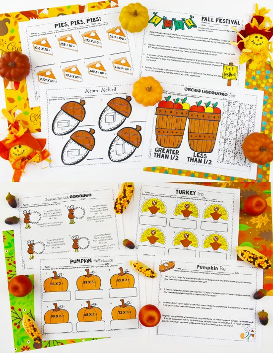 No-Prep Thanksgiving Math Worksheets for 4th and 5th Grade! Check out this post for Thanksgiving activities for math, literacy, and more! A few free Thanksgiving activities included!