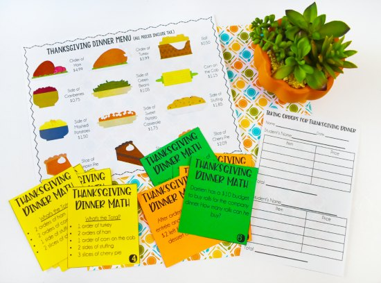 Thanksgiving Dinner Menu Math! Check out this post for Thanksgiving activities for math, literacy, and more! A few free Thanksgiving activities included!