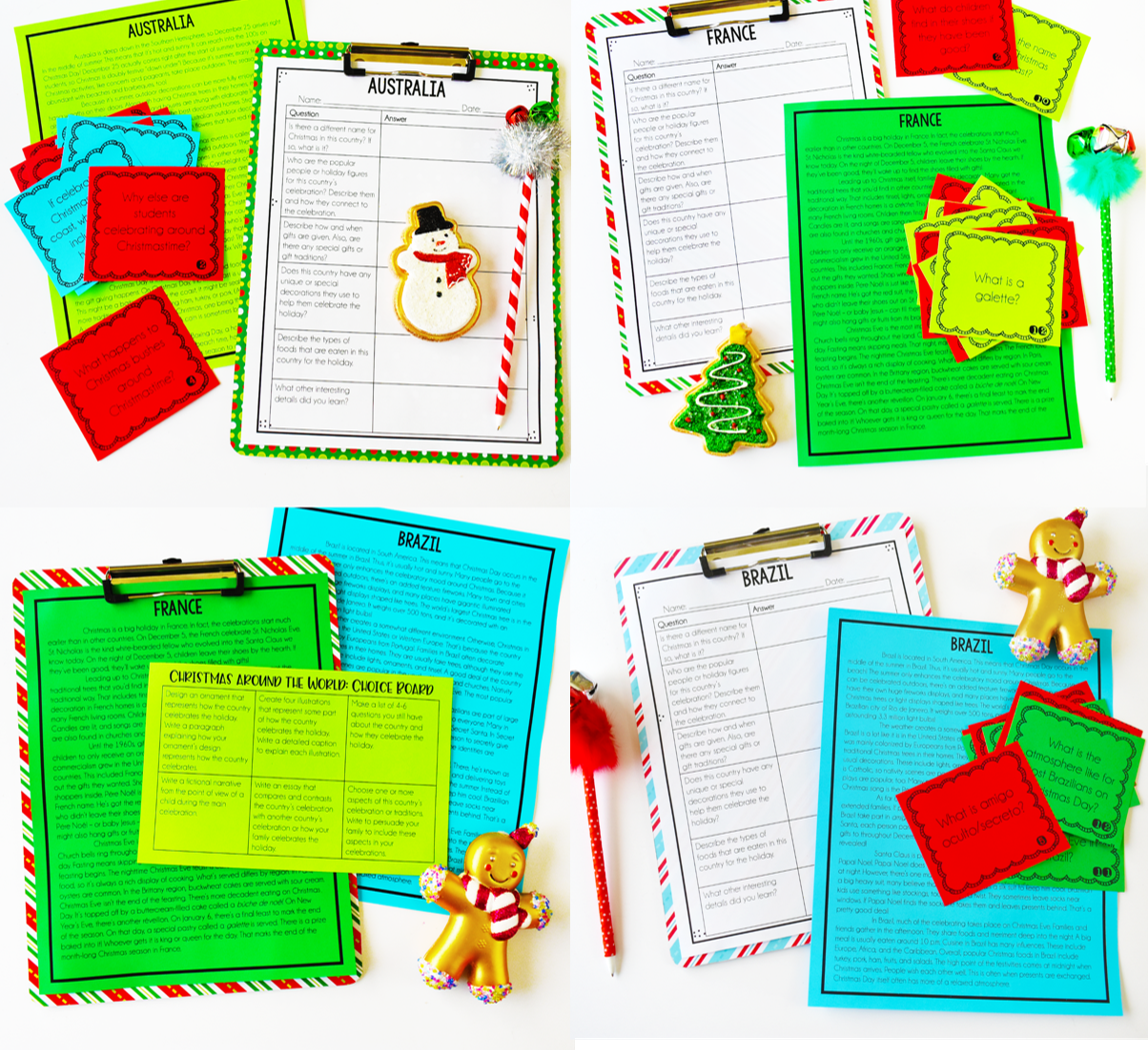 Christmas themed reading activities engage my students and keep them reading and learning during the month of December. This Christmas Around the World resource is perfect for 4th and 5th graders! Read more ideas for Christmas activities for upper elementary students on this post.