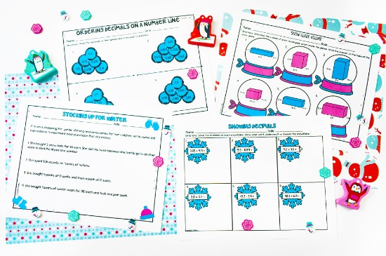 Winter math worksheet for 4th and 5th grade