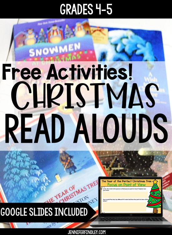 Christmas read alouds and picture books ideas for grades 4-5! Grab free printables and digital reading activities to go with each read aloud!