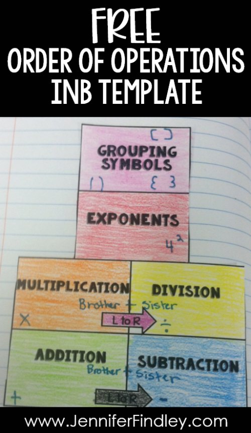 FREE math interactive notebook template for teaching order of operations