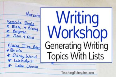 This post focuses on generating writing topics using lists for narrative, persuasive, and informational writing in a writer's notebook