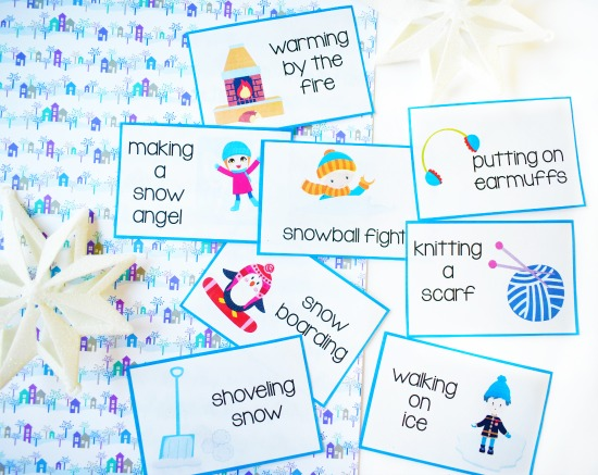 FREE winter brain break with these winter themed charades