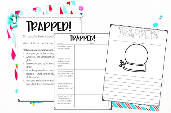Stuck in a Snow Globe is always a favorite winter writing prompt! Use these free downloads to help your students plan and publish their own Trapped in a Snow Globe writing project!