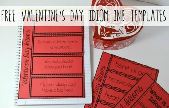 FREE Valentine's Day Idiom INB Templates. Get more ideas for Valentine's Day in 4th and 5th grade on the post!