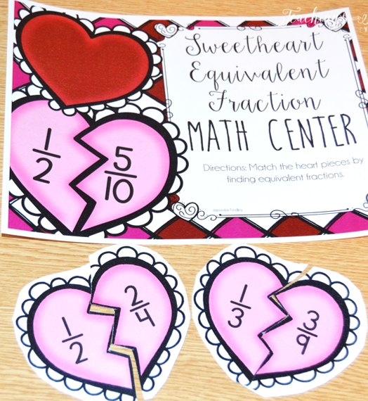 Free Valentine's Day Math Center for Equivalent Fractions