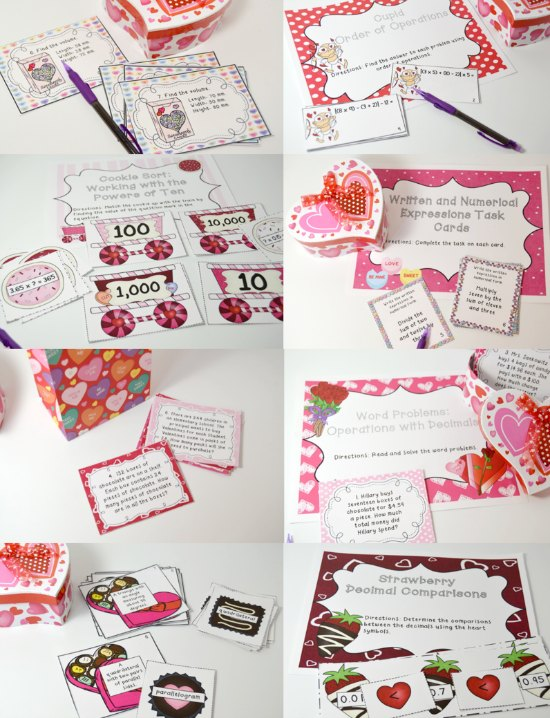 Valentine's Day Math Centers for 5th Grade! Click through to read more and get even more Valentine's Day activities and freebies for 4th and 5th graders!