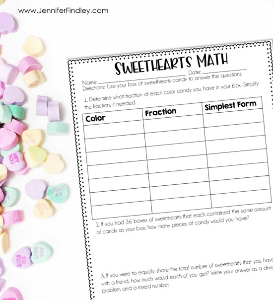 FREE Sweethearts Math printable and activity. Perfect for a Valentine's day math center or class party activity.