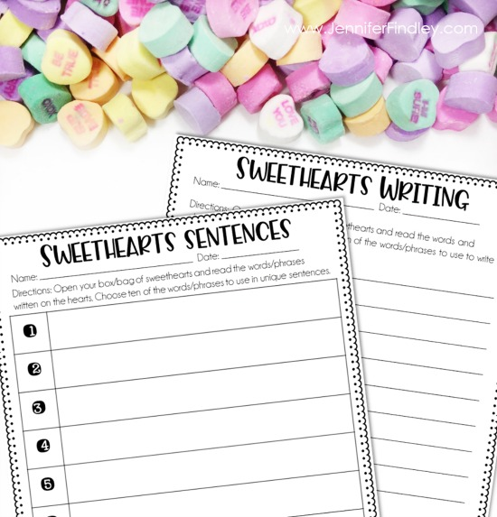 FREE Sweethearts writing printable and activity. Perfect for a Valentine's day literacy center or class party activity.