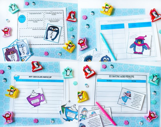 Winter-themed math centers and activities for 4th and 5th graders