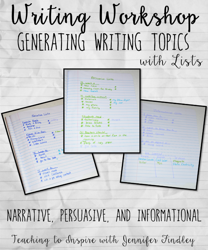 This post focuses on generating writing topics using lists for narrative, persuasive, and informational writing in a writer's notebook.