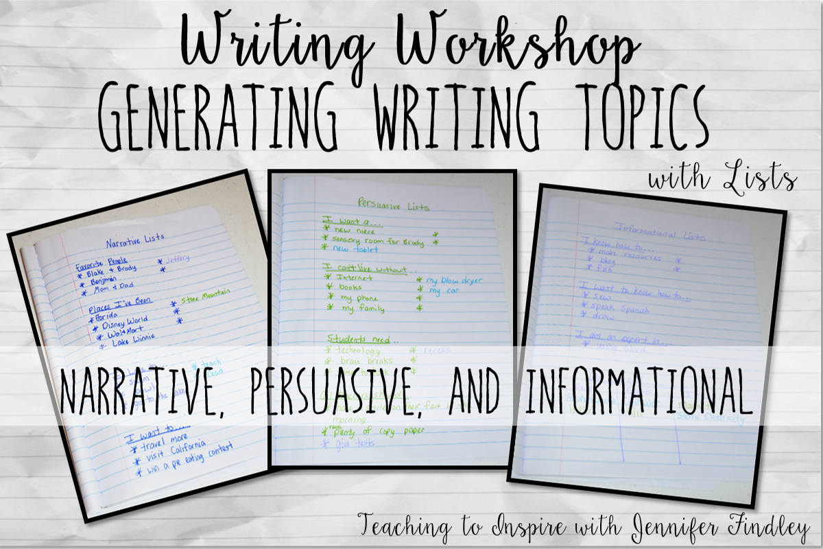 writing workshop ideas for highschool students