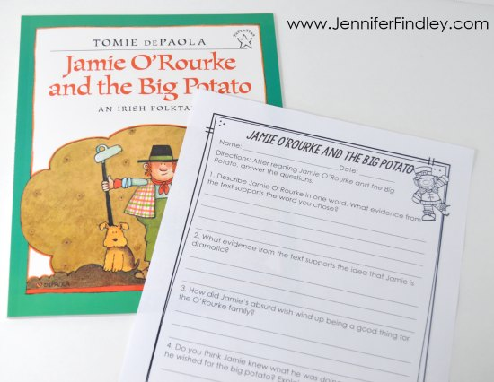 St. Patrick's Day read alouds for 4th and 5th graders with free reading activities and printables!