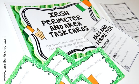 FREE St. Patrick's Day math task cards for area and perimeter!