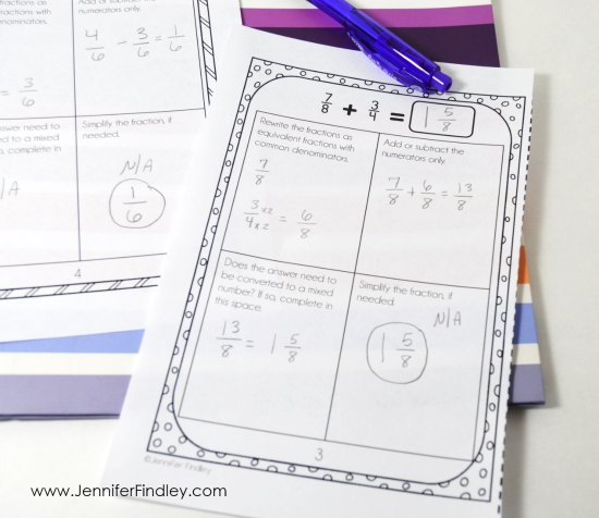 One way to support your students in math is by providing step-by-step directions for lengthy or complex tasks. Read more tips for supporting your students with 4th and 5th grade math centers on this post!