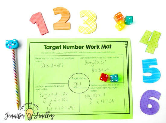 FREE Target Number Math Centers! Math centers don't have to be only computation or fact fluency practice. This post shares SIX higher level math centers that are perfect for upper elementary, including FREE centers!