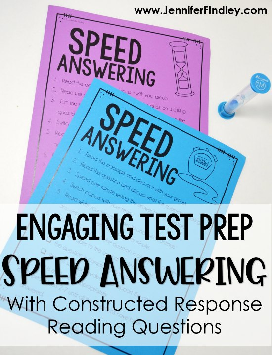 Engaging test prep review with constructed response reading questions! This test prep review works really with the new rigorous state tests. Read the post for a detailed description and free download of printable directions.